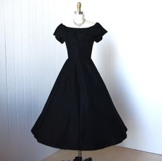 vintage 1950's dress pretty BETTY BARCLAY black ruffled by traven7, $160.00