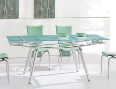Extendable Contemporary Gl Top Dining Table