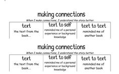 Making Connections Reading Strategies, Reading Skills, Teaching Reading, Reading Comprehension, Comprehension Strategies, Guided Reading, Learning, Reading Response Notebook, Readers Notebook