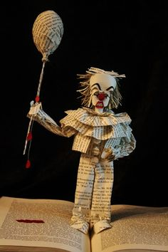 """""""Pennywise the Clown"""" (from """"It"""") book sculpture (artist: Jodi Harvey-Brown)"""