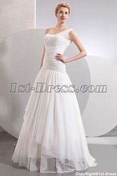 1st-dress.com Offers High Quality Charming Floor Length One Shoulder Drop Waist Casual Wedding Dresses,Priced At Only US$179.00 (Free Shipping)