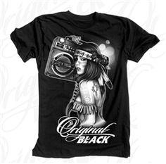NEW! Original Black Boombox Girl T Shirt Black  Our Price: $28.00  Sale Price: $19.99   #Introducing #OriginalBlack #new #paint #original #artist #Tattoo #design creation now #available at #cluburban.com #freeshipping