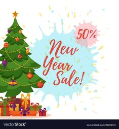Christmas tree decorated vector image on VectorStock Happy New Year Design, New Years Sales, Flat Style, Gift Boxes, Christmas Tree Decorations, Adobe Illustrator, Balls, Vector Free, Merry Christmas