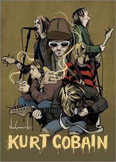 For everything Nirvana check out Iomoio Nirvana Kurt Cobain, Nirvana Band, Banda Nirvana, Kurt Cobain Art, Kurt Cobain Style, Mode Grunge, Grunge Art, Rock Posters, Band Posters