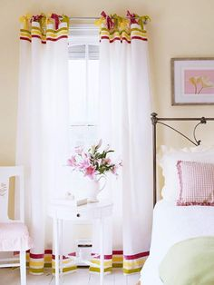 ADORABLE! K's room??? Floor-Length Tab-Top Panels Velvet ribbon in three sherbet shades turns plain white tab-top curtains into an elegant treatment. To create t...