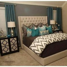 Master bedroom decor, A fantastic trick for decorating a small space look larger would be to add mirrors. Mirrors are good for setting up a room look bigger and much better.Purchase a beautiful mirror for the interior design project. Home Bedroom, Bedroom Ideas, Bedroom Inspiration, Bedroom Colors, Bedroom Designs, Bedroom Wall, 60s Bedroom, Teal Bedroom Decor, Gray Bathroom Decor