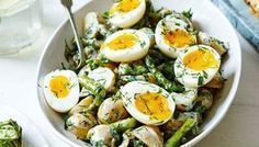 Packed with broad beans, feta cheese & soft-boiled eggs, this speedy salad is an easy dinner idea for two. Head to Tesco Real Food for more salad recipes. Vegetarian Recipes, Cooking Recipes, Healthy Recipes, New Potato Salads, Tesco Real Food, Soft Boiled Eggs, Boiled Egg Salad, Asparagus Recipe, Grilled Asparagus
