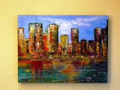 City on the Bay Original Abstract--FREE SHIPPING by MartinStoryDesigns for $179.00