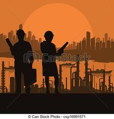 Vectors Illustration of Construction site and engineer vector ...