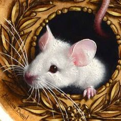 Marina Dieul: detail of a little white mouse with lovely pink ears. Oil painting, trompe-l'oeil.