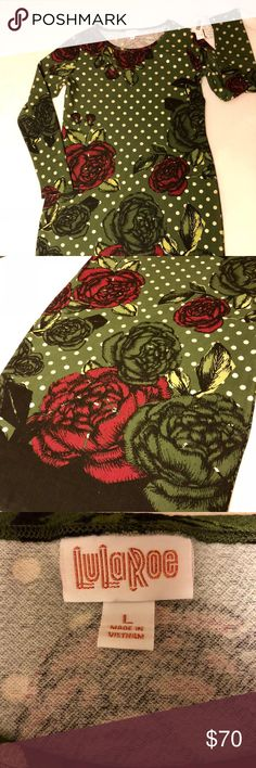 Lularoe Elegant Debbie size Large Lularoe Debbie from the Elegant collection. Size Large. Army Green with beautiful Red Roses and shimmering Gold. Pictures do not do this dress justice. Would be a great addition to your wardrobe. This is just a gorgeous dress but it is not my size. I normally wear a 10/12 but I think this is closer to an 8. LuLaRoe Dresses Long Sleeve