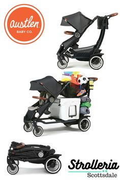 The Austlen Entourage holds up to 150 pounds of kids and cargo! This inventive stroller extends to three positions, allowing it to be a single or double stroller. See it at Strolleria, the only retailer in Arizona that carries Austlen products!