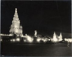 Historypin | Mapping San Francisco's 1915 World's Fair | Night Illumination of the Tower of Jewels and the Fountain of Energy