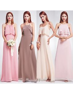 Find 2018 style spaghetti straps floor length chiffon bridesmaid dresses, bridesmaid dresses, wedding party dresses at discount prices