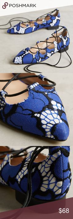 Anthropologie Billy Ella flats Fabulous Billy Ella Ghillie printed flats sold out from Anthropologie. Features lace up detail and ankle tie closure. Upper: cotton and poly, leather insole, sole. Reasonable offers only and no trades please. 💙 Anthropologie Shoes Flats & Loafers