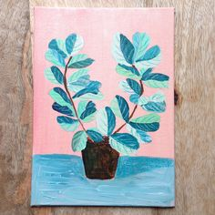 Plants on Pink No. 13 - an original acrylic painting, plants painted on a pink background door XantheCS op Etsy