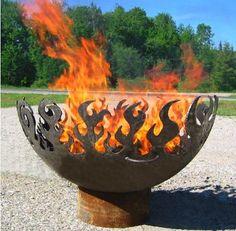 Great Bowl O' Fire Recycled Steel Fire Pit ($998 - below).  via BeSportier