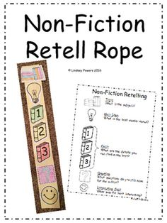 Non-Fiction Retell Rope as a visual cue for non-fiction retelling: topic, main idea, fact fact fact question for the author, and share most interesting fact. Created by: Lindsey Powers 2016 Fiction Vs Nonfiction, Nonfiction Activities, Retelling Activities, Reading Comprehension Activities, Reading Strategies, Retelling Rope, Grade 1 Reading, Guided Reading Lessons, Story Retell