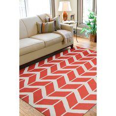 For sun room Jill Rosenwald Hand-woven Orange Abada Wool Rug (5' x 8')