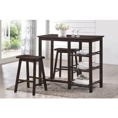 With the Acme Furniture Nyssa 3 Piece Rectangular Counter Height Dining Table Set , a small space becomes an inviting. Counter Height Table Sets, Bar Table Sets, A Table, Dining Tables, Kitchen Dining Sets, Small Dining, Dining Room Sets, Kitchen Nook, Kitchen Counters