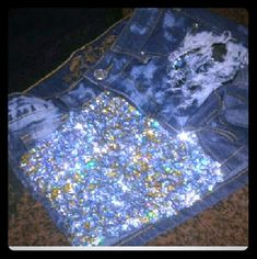 Custom distressed sequins shorts Sequins shorts that are distressed on one leg  with sequins hand sewed by me on the other leg.  Gold and silver.   I will be having more sequins jeans coming soon  so check them out。never worn Shorts