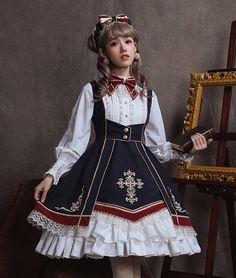 Arcadian Deer -The Sacred Glory College- Lolita OP Dress,Lolita Dresses, Kawaii Fashion, Lolita Fashion, Cute Fashion, Emo Fashion, Gothic Fashion, Dress Outfits, Cool Outfits, Dress Up, Fashion Outfits