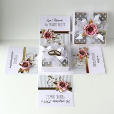Card In A Box, Pop Up Box Cards, Wedding Boxes, Wedding Cards, Wedding Invitations, Exploding Gift Box, Diy And Crafts, Paper Crafts, Surprise Box