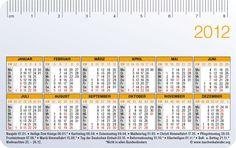 [EN] German calender card 2012 with bank holidays.  [DE] Kalenderkarte 2012 mit Feiertagen.