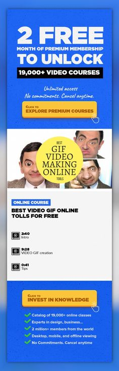 Best VIDEO GIF online tolls for FREE Film, Film Production, Video Editing, Creative, Gif, Free, Video #onlinecourses #onlinecoursesentrepreneur #createonlinecourses   This course will tach you how to create VIDEO ANIMATED GIF for FREE. Its is perfect for beginners and Social Media Lovers. You don`t need any software installation, just internet and great ideas.  ENROLL NOW!