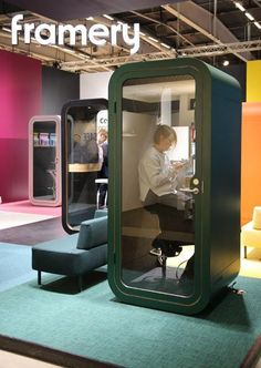 We loved these office phone booths by Framery. #2017sff #design #interiordesign