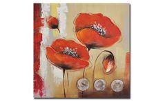 Quadro ad olio dipinto a mano FIORI  60X60X3 foto 1