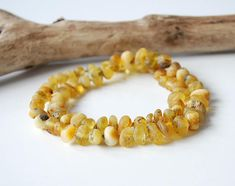 Natural Mat Baltic Amber Necklace Raw Amber Necklace Gold