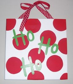 Handpainted Christmas Canvas Sign  Ho Ho Ho by annie52309 on Etsy