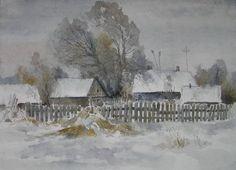 Акварель. Зимние пейзажи Игорь Хайков.