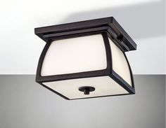 "Feiss OL8513 Wright House 2 Light 9"" Outdoor Flushmount Ceiling Fixture with Str Oil Rubbed Bronze Outdoor Lighting Ceiling Fixtures Flush Mount"
