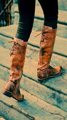 back lace brown leather long boots