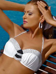 Hot Top!!! Meriell Pearls Bandeau White Bikini Top