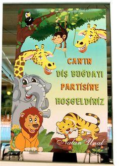 Diş partisi için safari temalı karşılama panosu