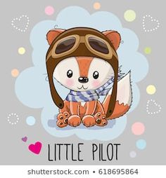 Cute Cartoon in a Pilot Hat Vector Images (over Cute Cartoon Boy, Owl Cartoon, Cartoon Mignon, Pumpkin Vector, Blue Nose Friends, Fox Illustration, Dibujos Cute, Cute Fox, Animal Illustrations