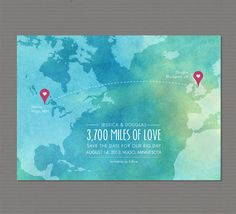 "DIY Printable or Printed ""Love Map"" Save the Date Card - for couples from different counties"