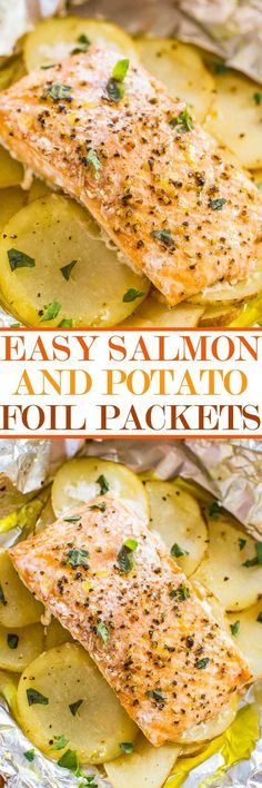 Easy Salmon and Potato Foil Packets - Juicy moist salmon that's loaded with…