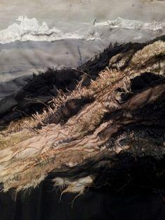 Bamburgh Dunes. Laura Edgar # textile art # embroidery #vintage fabric www.lauraedgar.co.uk