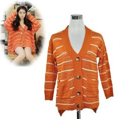 Womens Fashion Striped Cardigan Batwing Loose Knitted Sweater Long Tops