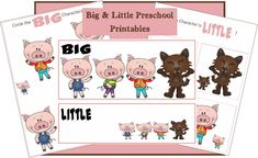 3 Little Pigs Printables for learning big and little