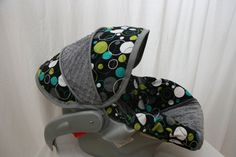 Hoopla Dot With Gray Minky Boy Infant Car Seat By BABYCOVERS2010 6500