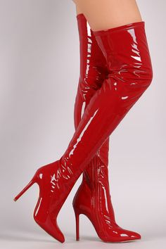 These over-the-knee boots feature a shiny vegans patent leather upper and chunky lucite heel. Camo High Heels, Hot High Heels, Red High Heel Boots, Shiny Boots, Red Boots, Stiletto Boots, Heeled Boots, Ropa Color Neon, Latex Boots