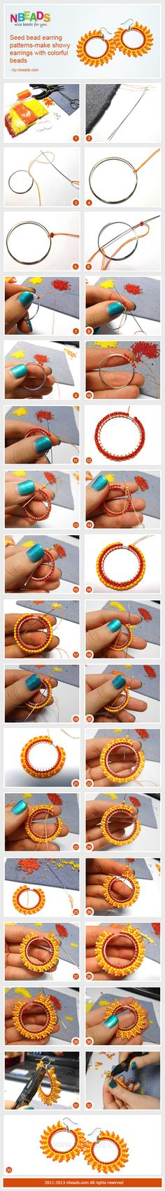 TUTORIAL/BEADING seed bead earring patterns-make showy earrings with colorful beads