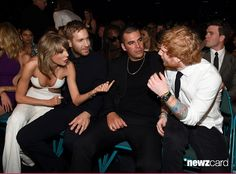(L-R) Recording artists Taylor Swift and Calvin Harris, guest and recording artist Ed Sheeran attended the 2015 Billboard Music Awards at MGM Grand Garden Arena on May 17, 2015 in Las Vegas, Nevada.