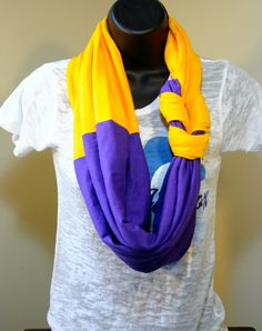 LSU!!! Braided infinity twotone scarf in Purple/Gold by BeCraftHappy, $20.00  Omg, ECU colors!