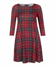 Red Pattern (Red) Red Check 3/4 Sleeve Swing Dress | 300464469 | New Look